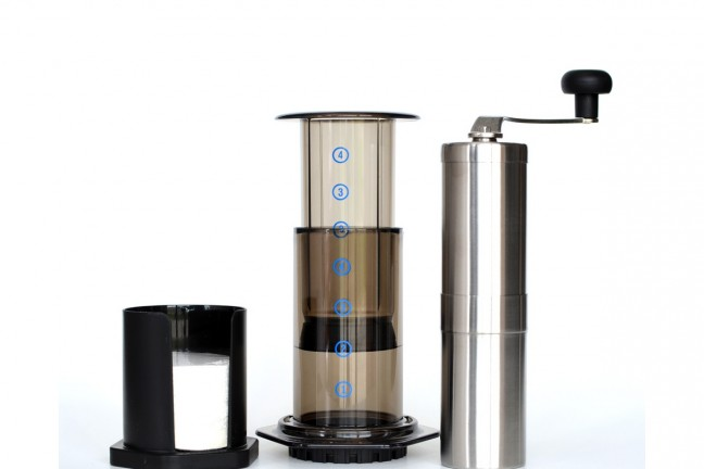 Aeropress ($) and Porlex JP-30 hand grinder ($45)