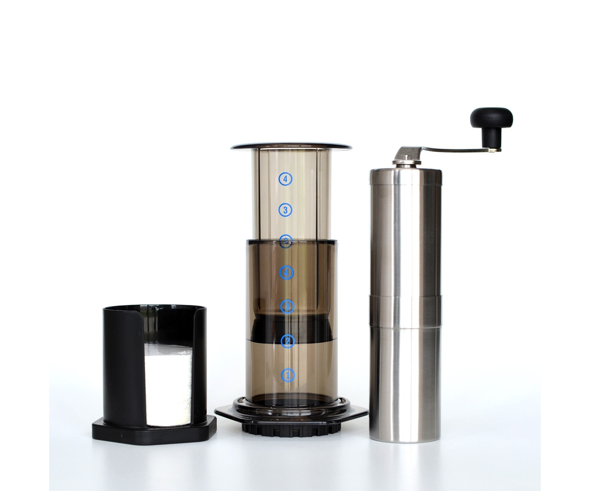 Aeropress ($30) and Porlex JP-30 hand grinder ($40)