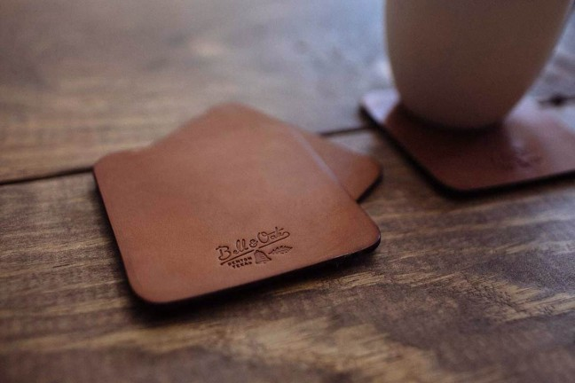 Bell & Oak's Texas Tan Leather Coasters. ($30 for set of 4)