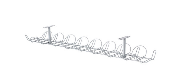 I've never got the right length cables, so IKEA's Signum basket takes care of the excess.