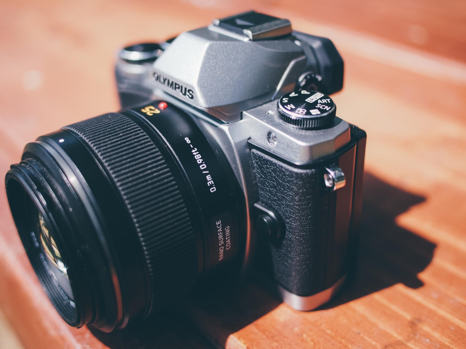The Olympus E-M10 with the Panasonic Summilux 25 f/1.4 lens attached. Arguably the single best lens for the Micro Four Thirds system.