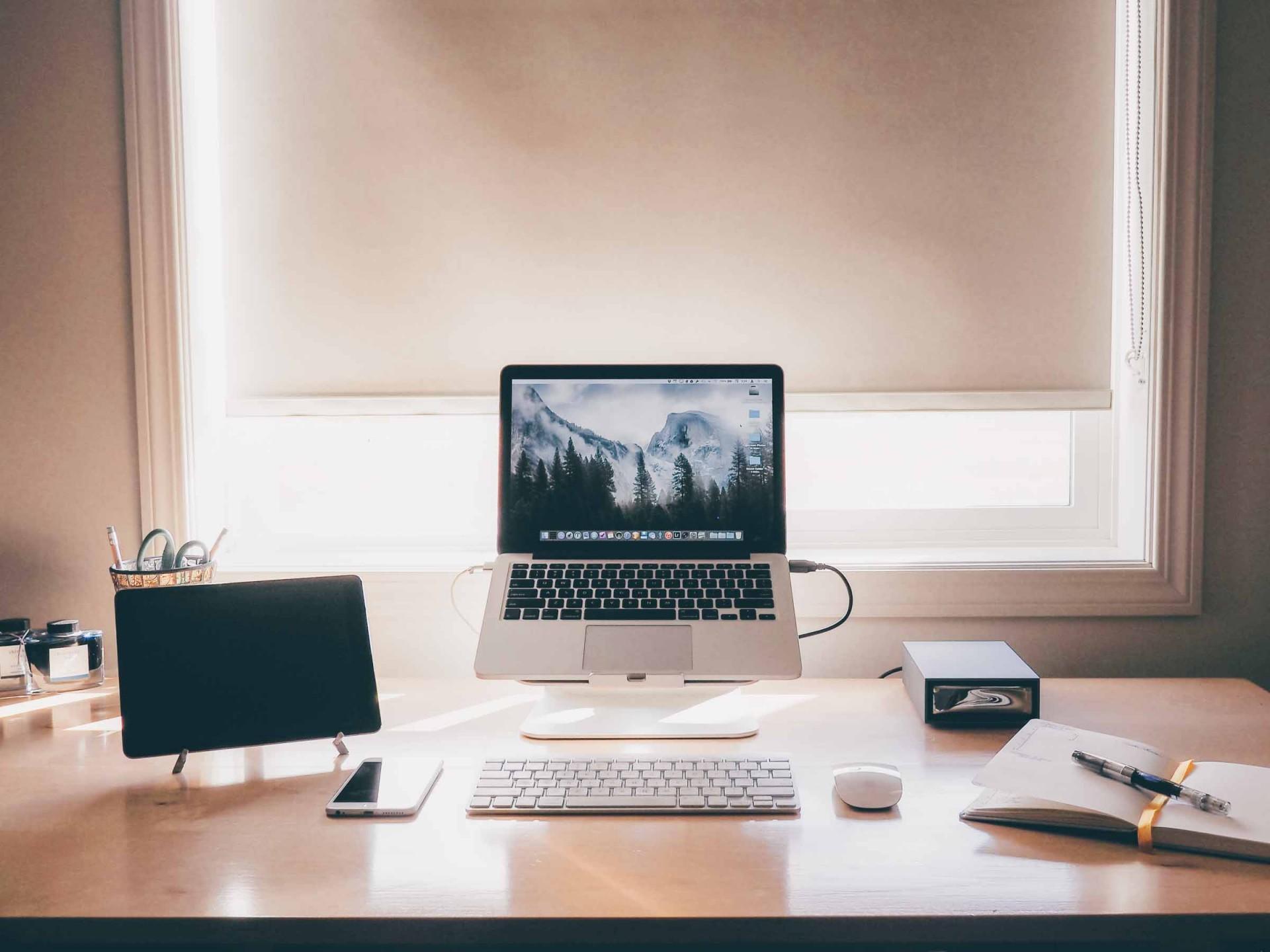 Josh Ginter's Desk,  quite tidy.