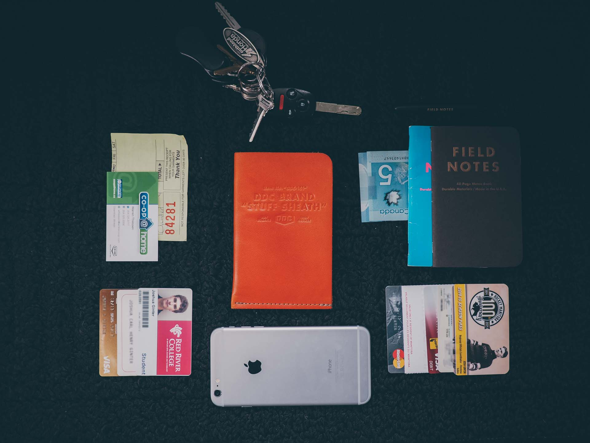My everyday cary: Keys, iPhone, and the DDC Stuff Sheath stuffed with 8 cards, 2 Field Notes books, a receipt, a business card, and some cash.