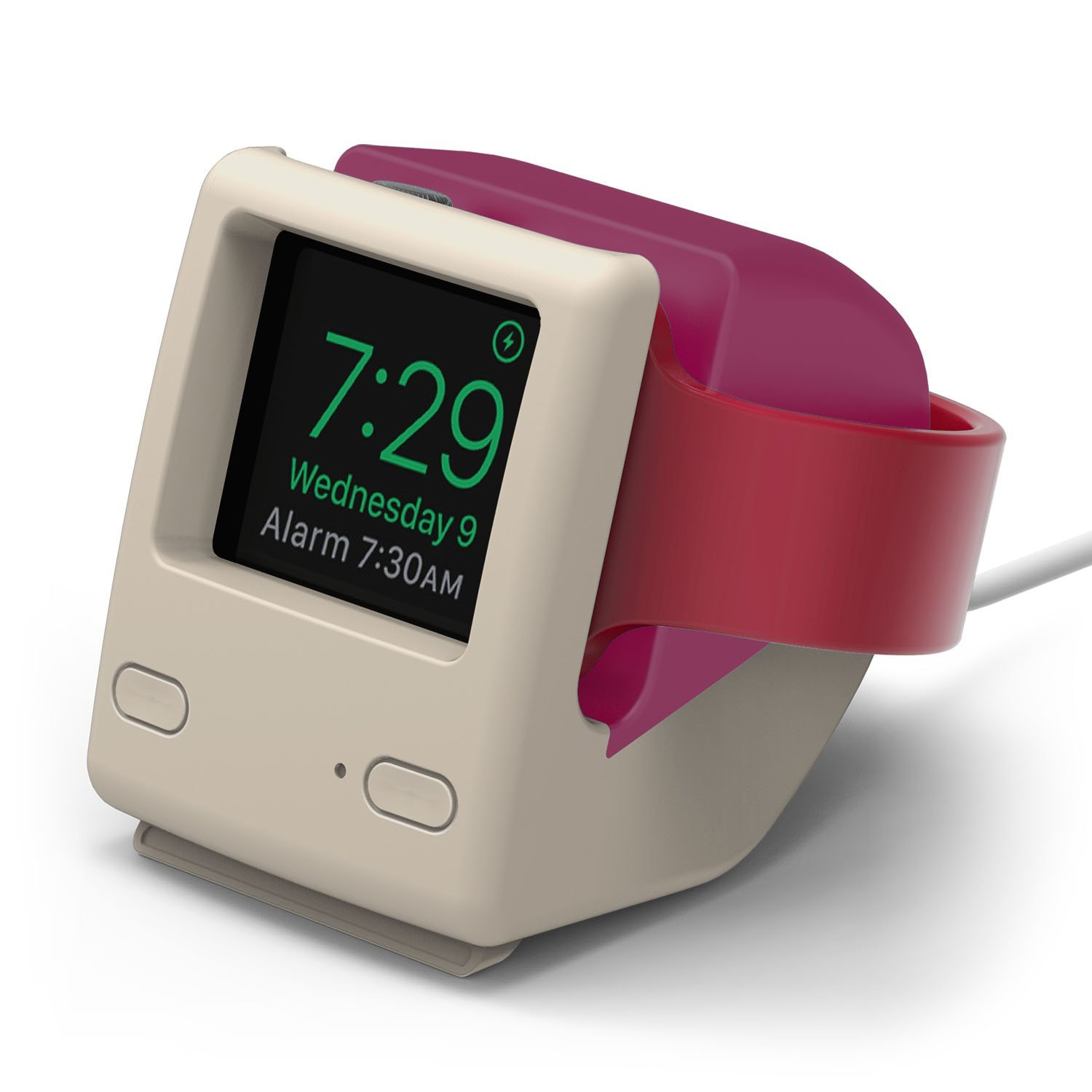 Bring out the nostalgia in your Apple Watch with the [Elago W4 Apple Watch stand](https://www.amazon.com/elago-Stand-Aqua-Pink-Nightstand/dp/B06Y254L9J/ref=as_li_ss_tl?linkId=30d45114f9838d2e124399209bb3ed2c&linkCode=sl1&tag=toolstoysdeals-20&ie=UTF8).