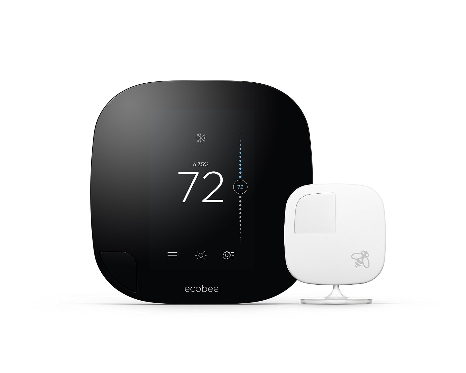 [ecobee3](http://www.amazon.com/ecobee3-Smarter-Thermostat-Remote-Generation/dp/B00ZIRV39M?SubscriptionId=AKIAJ7T5BOVUVRD2EFYQ&linkCode=xm2&creativeASIN=B00ZIRV39M&creative=165953&psc=1&camp=2025&tag=toolstoysdeals-20) states it can lower your energy bill by 23% annually.
