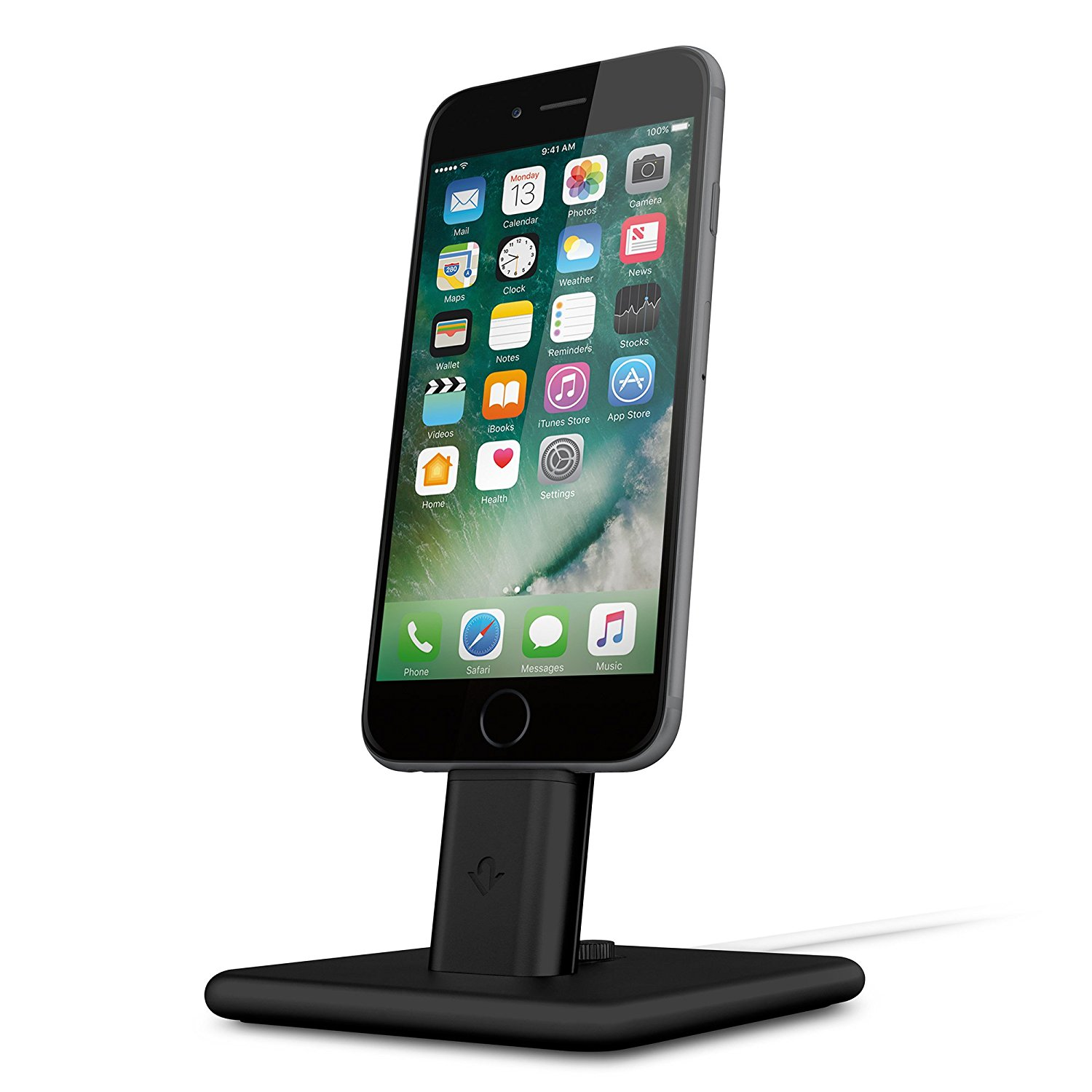 The [Twelve South HiRise 2](https://www.amazon.com/dp/B01LD85JIK?tag=toolstoysdeals-20) is a great iPhone/iPad stand for your desk or nightstand.