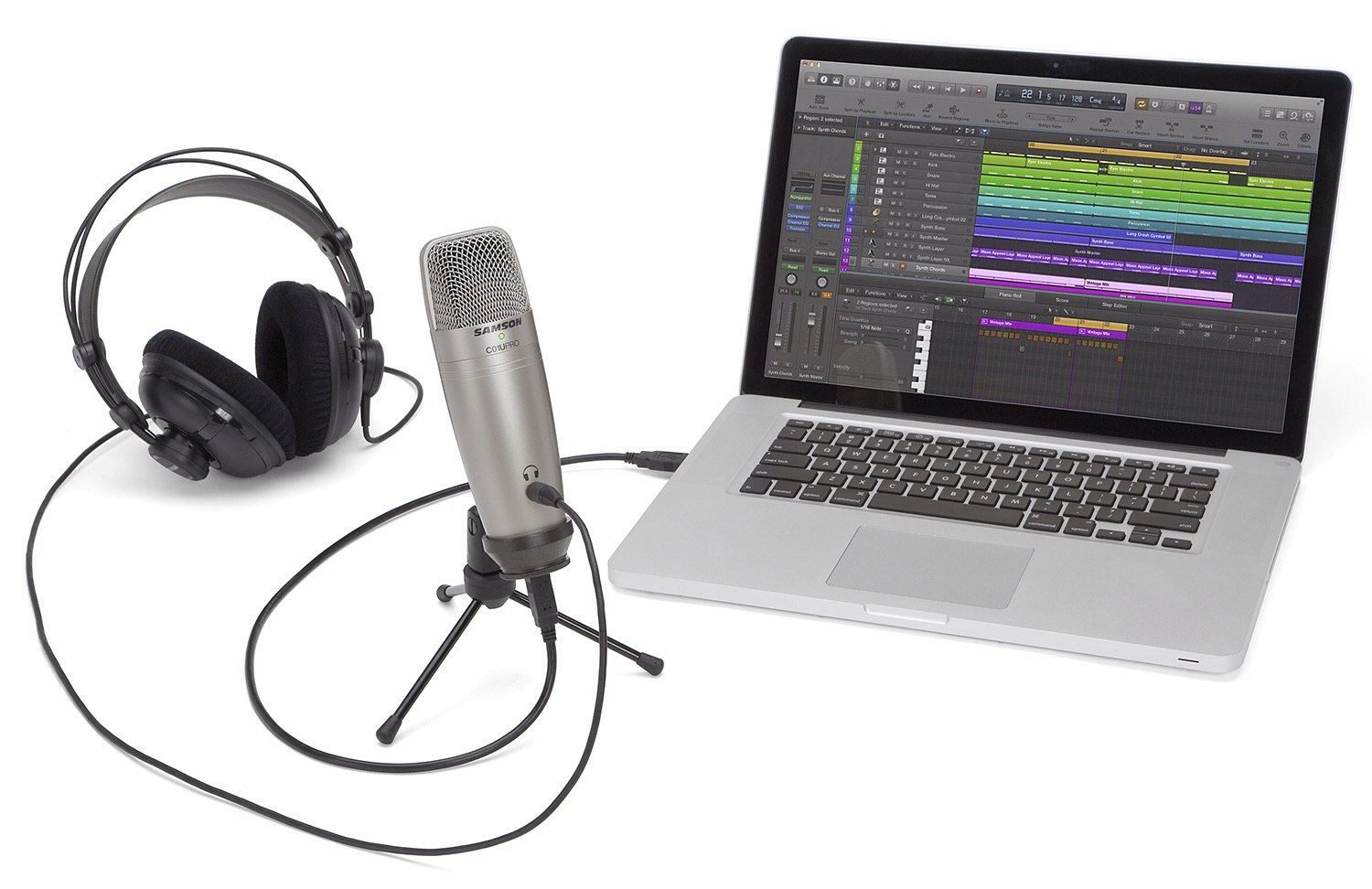The Samson C01U Pro USB Condenser Microphone (pictured with MacBook, but great for iPad too). ($70)