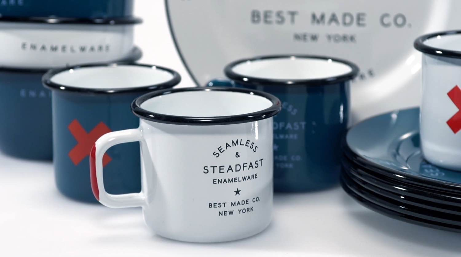 Seamless Enamel Steel Mugs by Best Made Co. ($32 for a set of two, in blue or white)