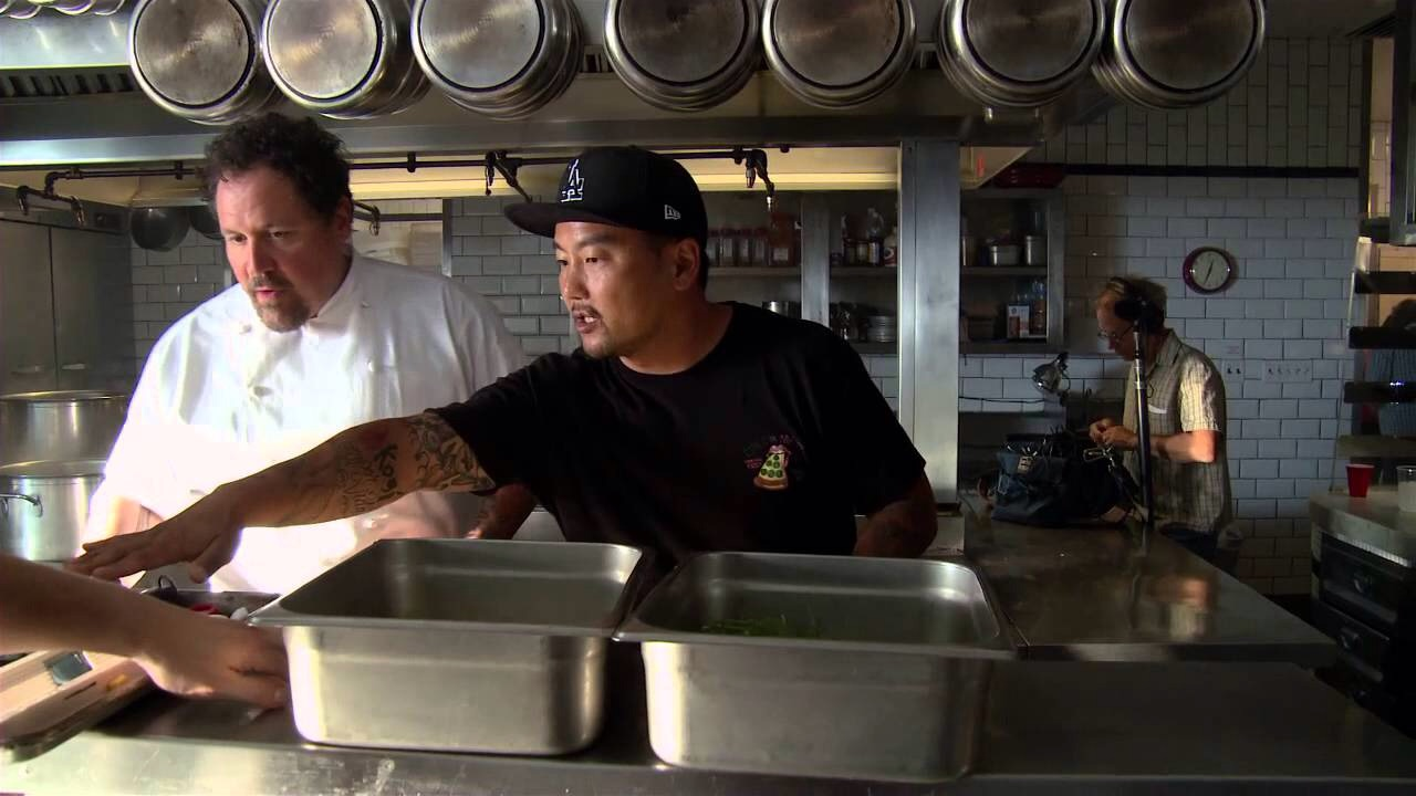 Jon Favreau (left) picking up some skills from acclaimed chef Roy Choi (right).
