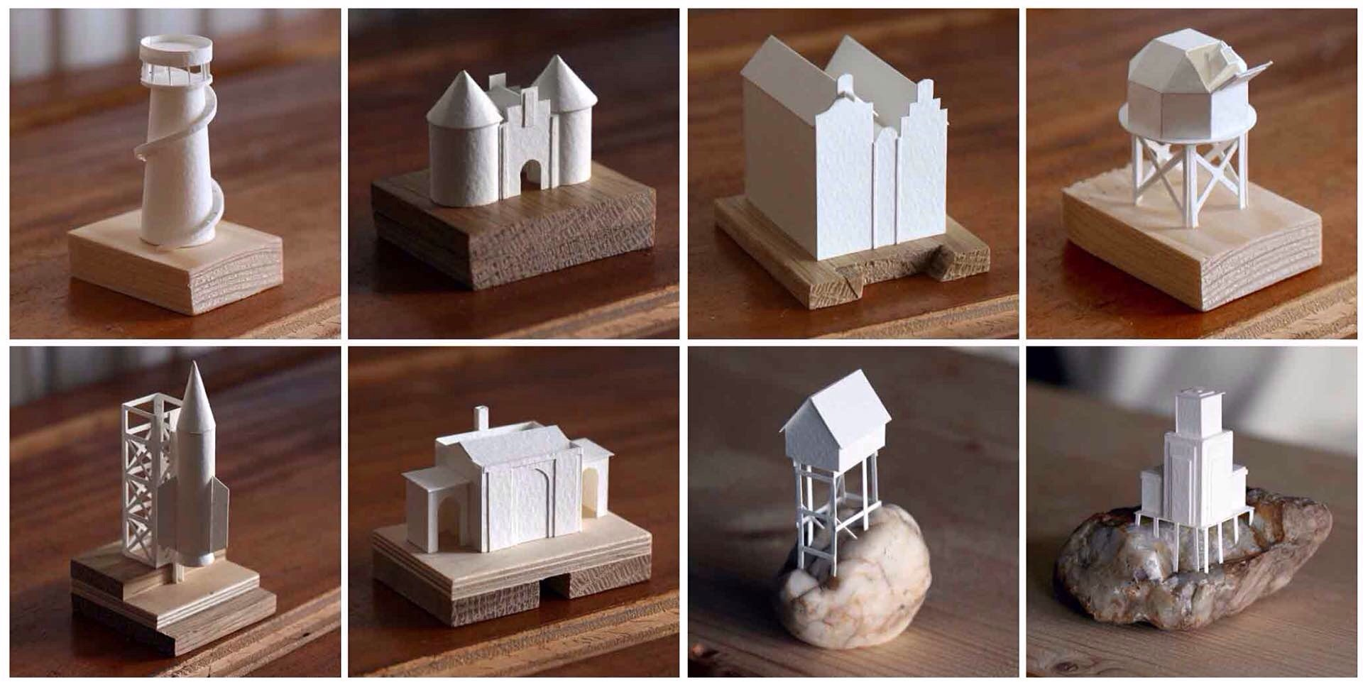 A small selection of Charles Young's paper building models.