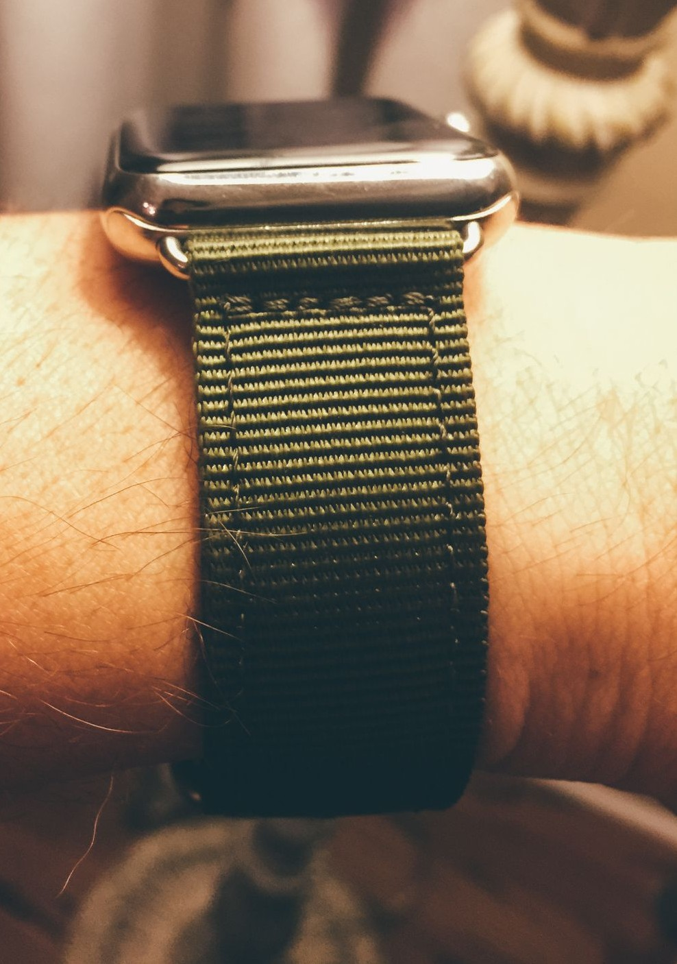 The nylon band is extremely comfortable and not a material that Apple offers.