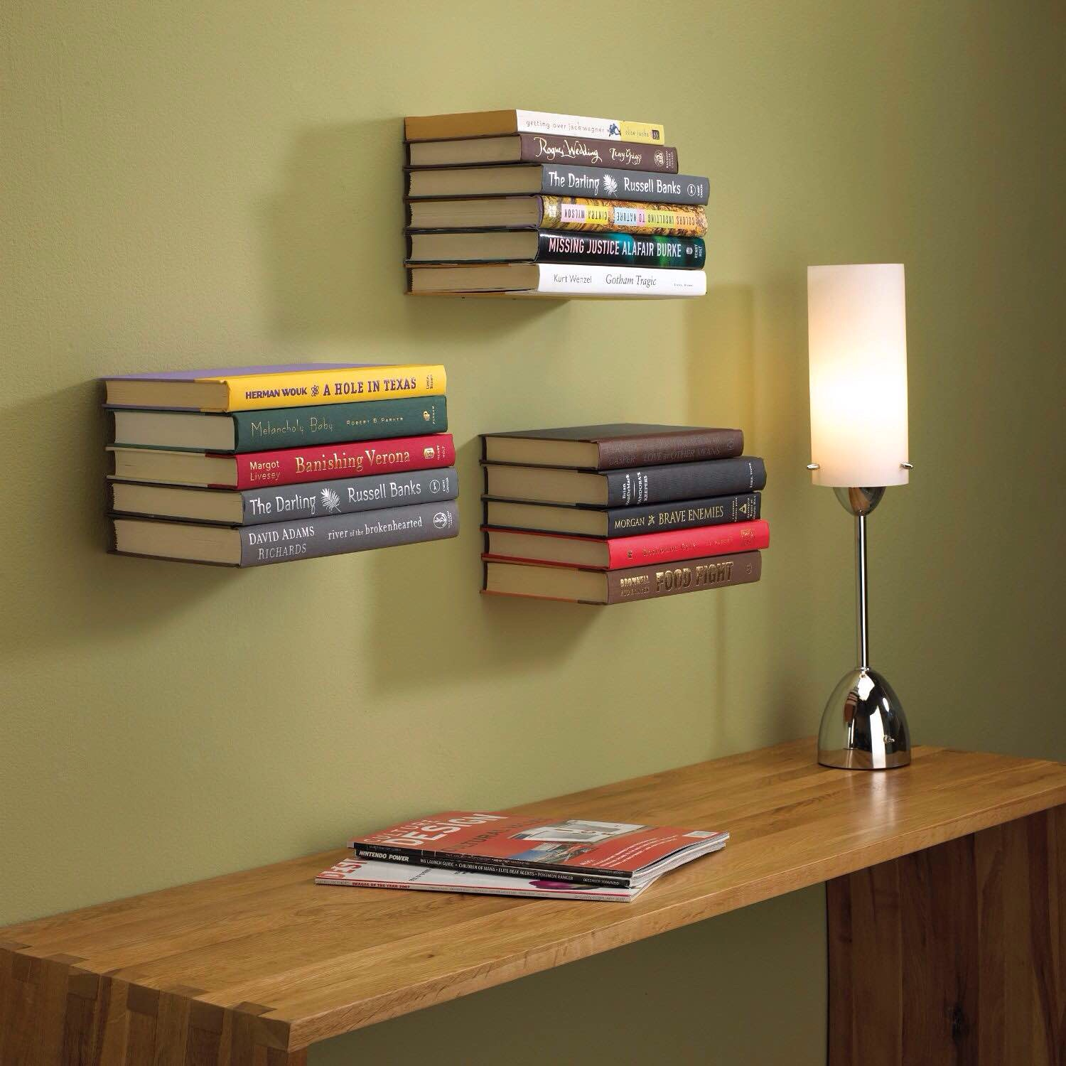 Multiple floating bookshelves creates a cool effect in any office.