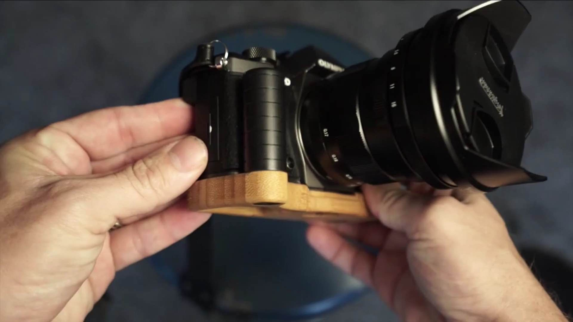 J.B. Camera Designs' wooden camera grip-bases. ($50–$80)Photo: Steve Huff