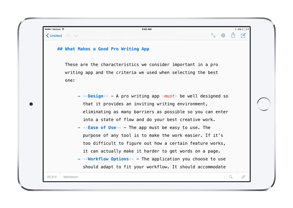 Ulysses for iPad. ($20)