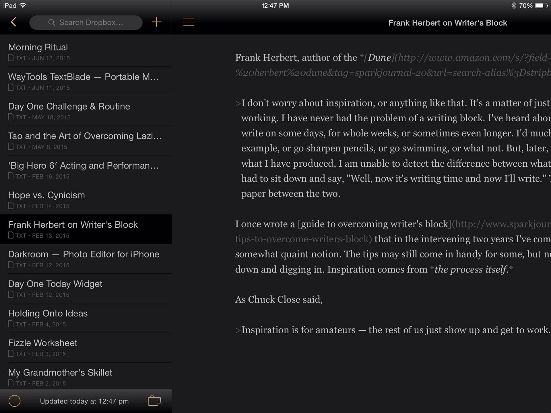 Byword for iOS, dark theme. ($6)