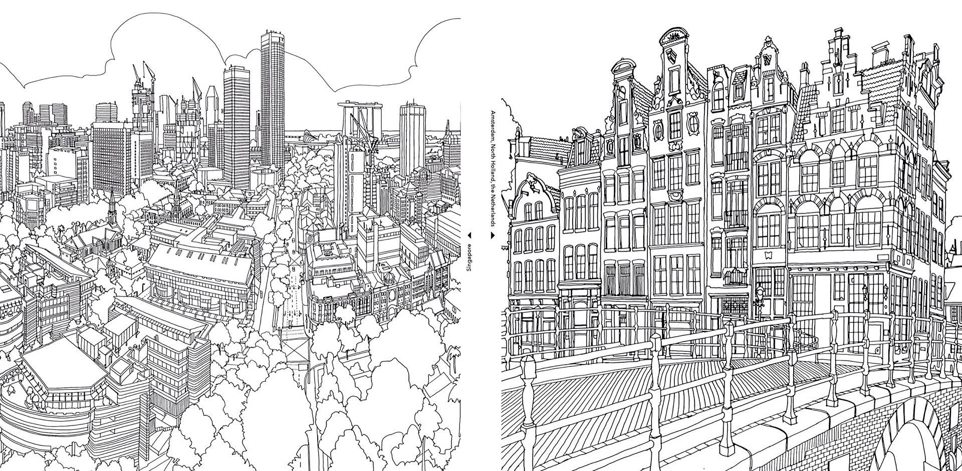 Fantastic Cities A Coloring Book For Adults Tools And Toys