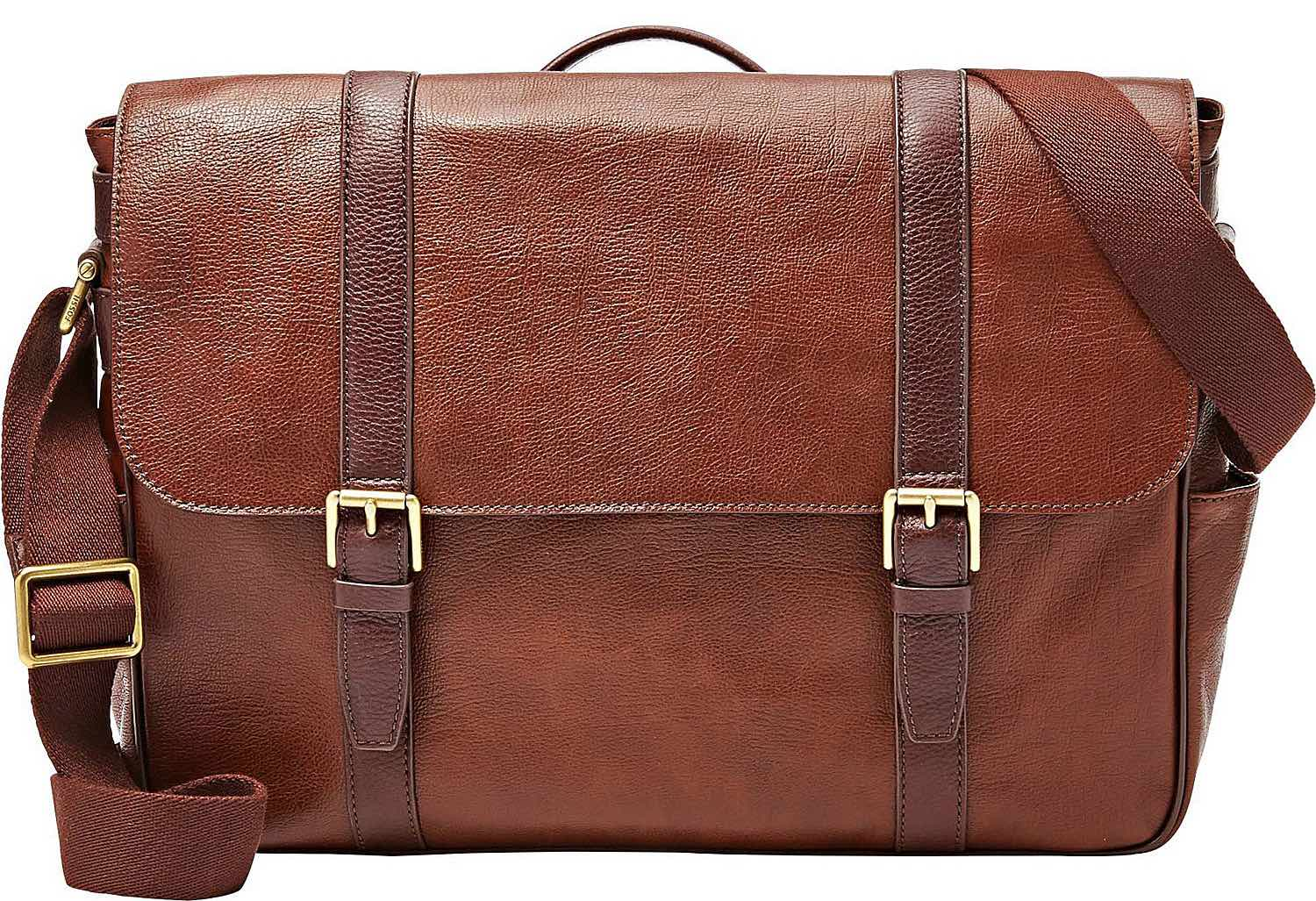 Fossil's Estate East-West saffiano leather messenger bag. ($298)