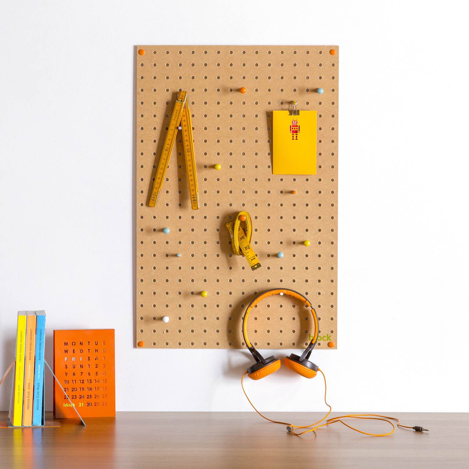 Block's large pegboard with wooden pegs. ($60–$95, depending on color)