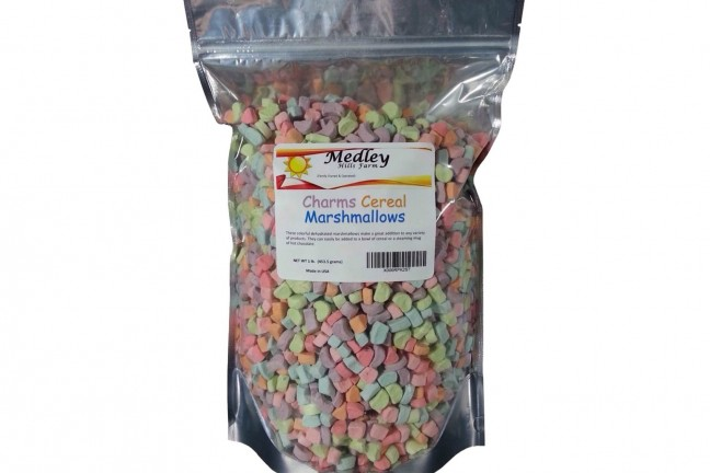 "Medley Hills Farm's ""Charms"" cereal dehydrated marshmallows. ($12)"