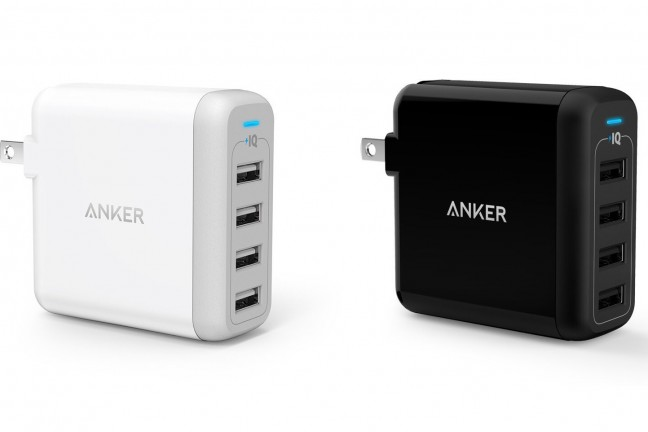 The Anker PowerPort 4 40W 4-port USB wall charger. ($26; available in [white](http://www.amazon.com/dp/B00VH8G1SY?tag=toolsandtoys-20) and [black](http://www.amazon.com/dp/B00VH8ENXE?tag=toolsandtoys-20))
