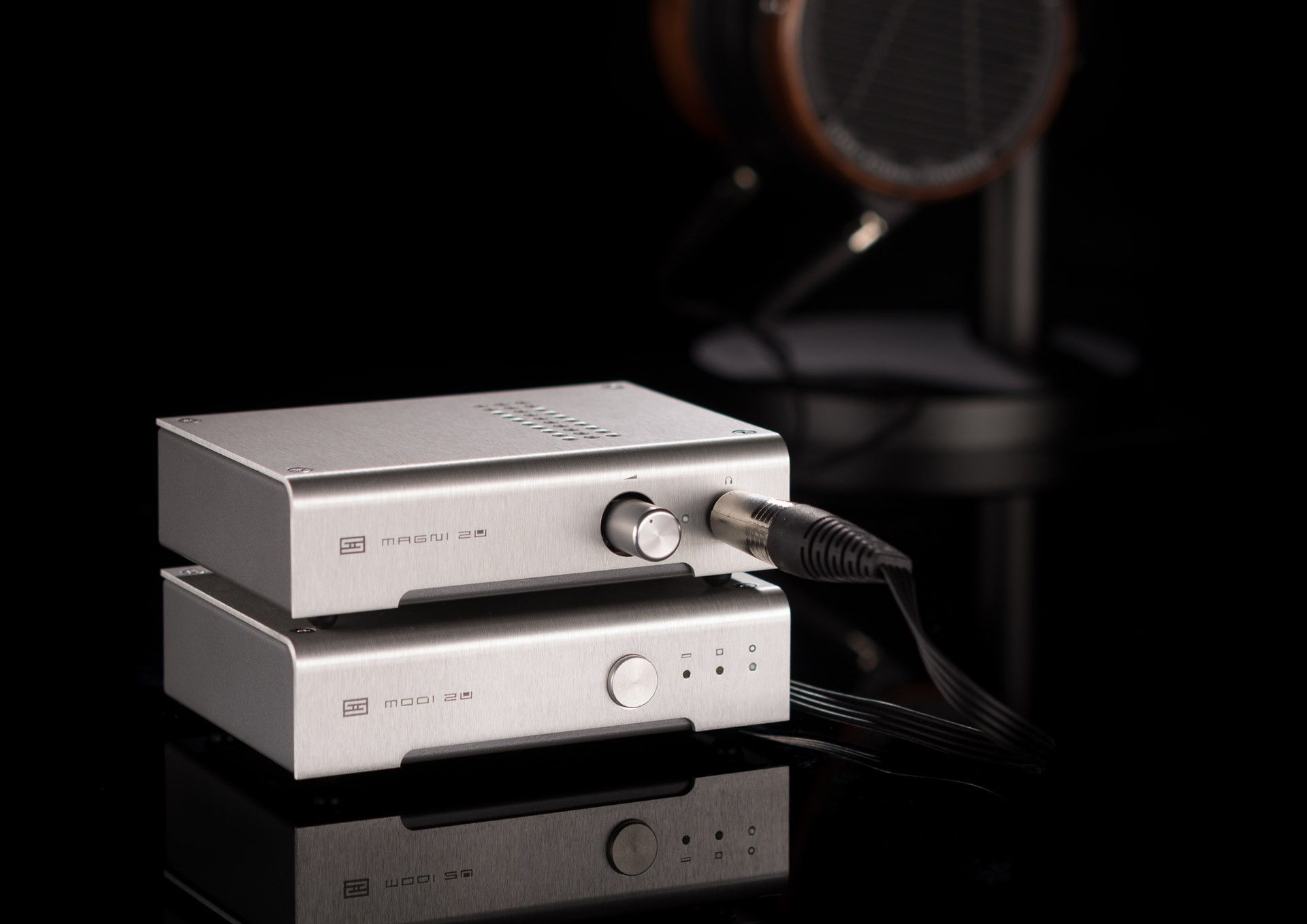 The Magni 2 headphone amplifier (top, $119) and Modi 2 USB DAC (bottom, $119) by Schiit.