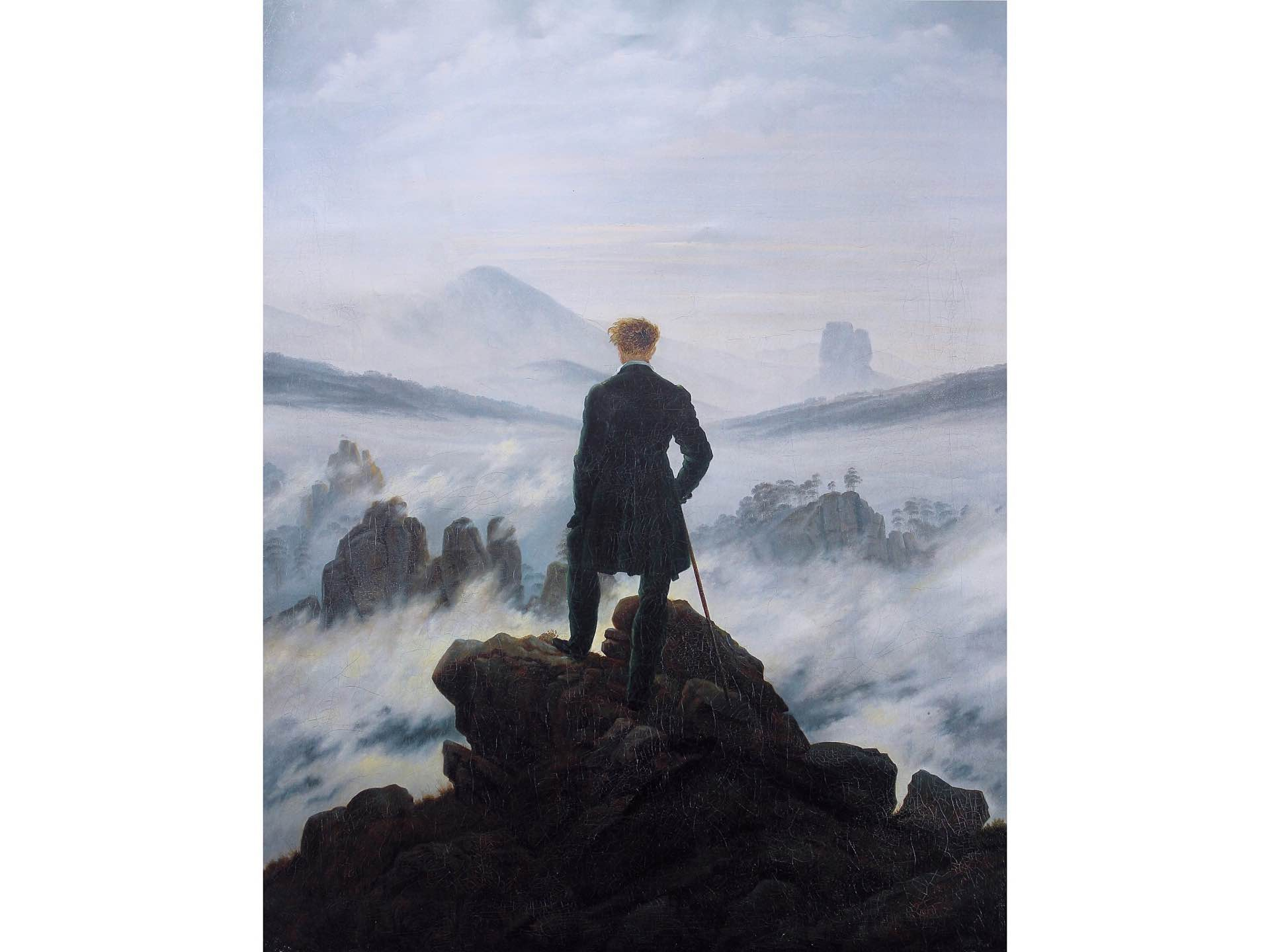 Painting: *[Wanderer Above the Sea of Fog](https://en.wikipedia.org/wiki/Wanderer_above_the_Sea_of_Fog)* by Caspar David Friedrich (1818)