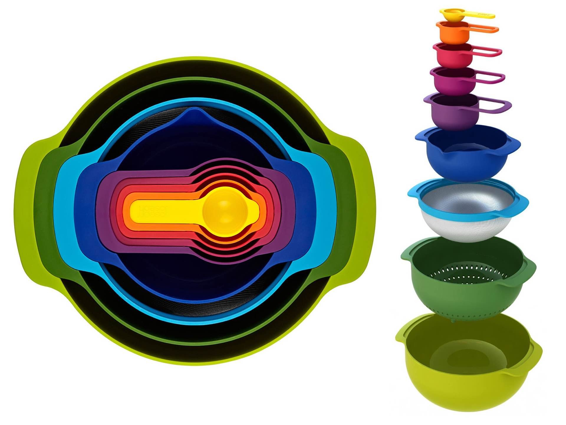 Joseph Joseph's 9-piece nesting food prep + measuring set ($38)