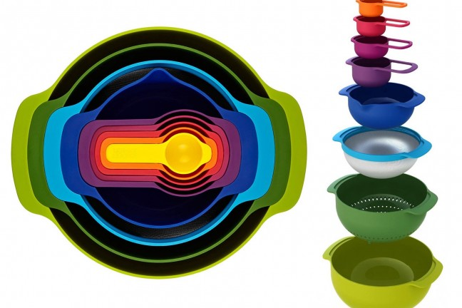 Joseph Joseph's 9-piece nesting food prep + measuring set. ($35)