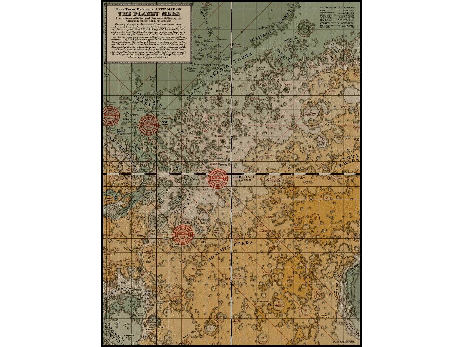 """Here There Be Robots"" Victorian-style map of Mars by Eleanor Lutz. (Price varies based on item format)"