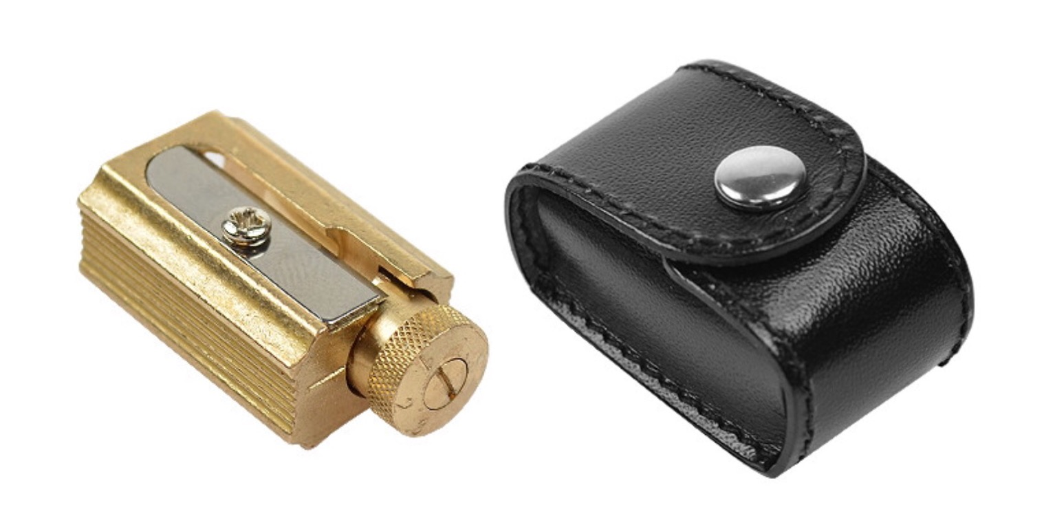 DUX's adjustable brass pencil sharpener. ($17)