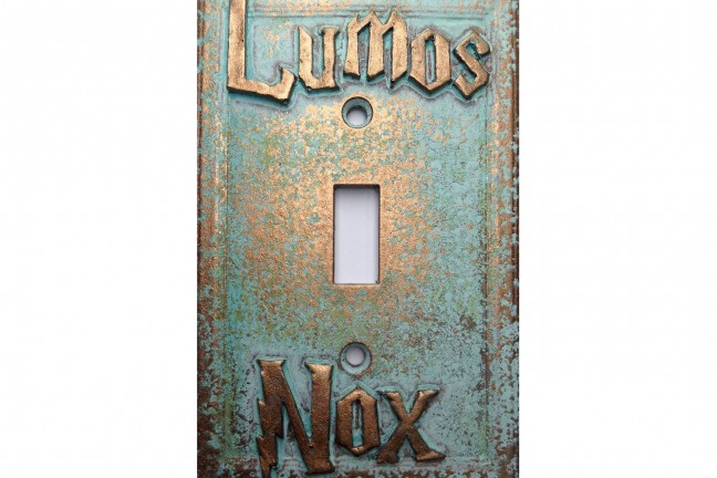 "Harry Potter ""Lumos/Nox"" light switch cover. ($17)"