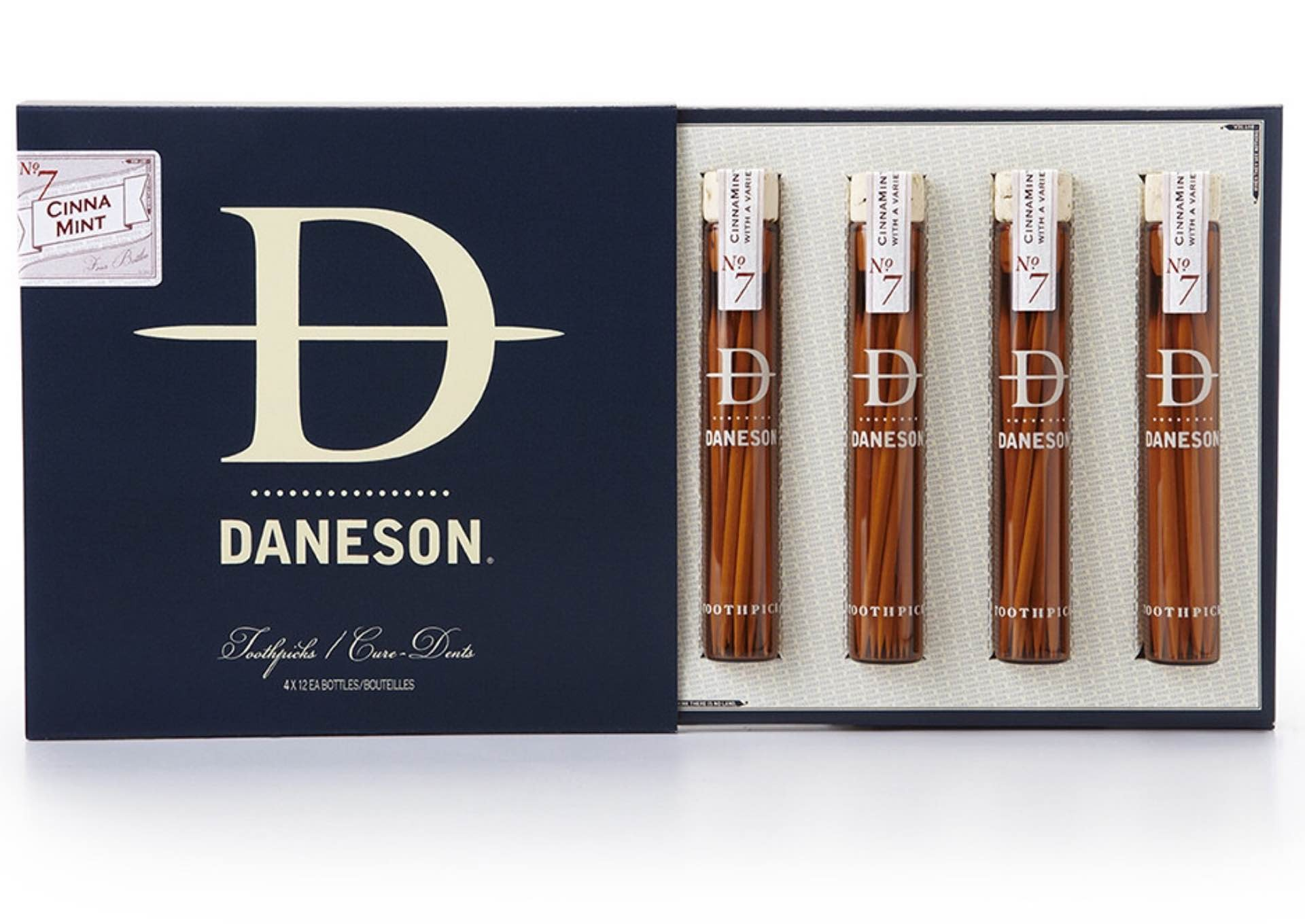"Daneson's ""Cinnamint No. 7"" toothpicks. ($20 per 4-bottle pack, or $120 for a 24-bottle case)"