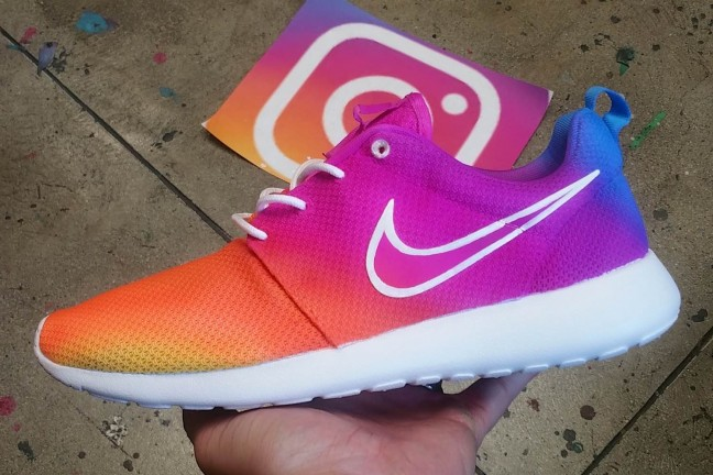"The ""Instagram Logo"" hand-painted Nike Roshe shoes. ($225 per pair; allow up to 4 weeks for delivery)"