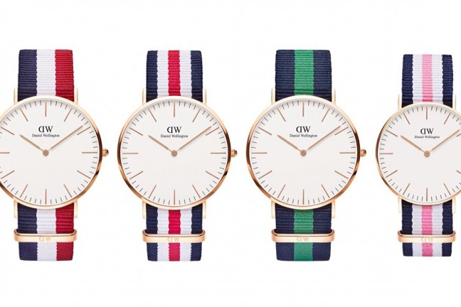 "The Daniel Wellington ""Classic Collection"" NATO-strap watch lineup. ($175 for 36mm, $195 for 40mm)"