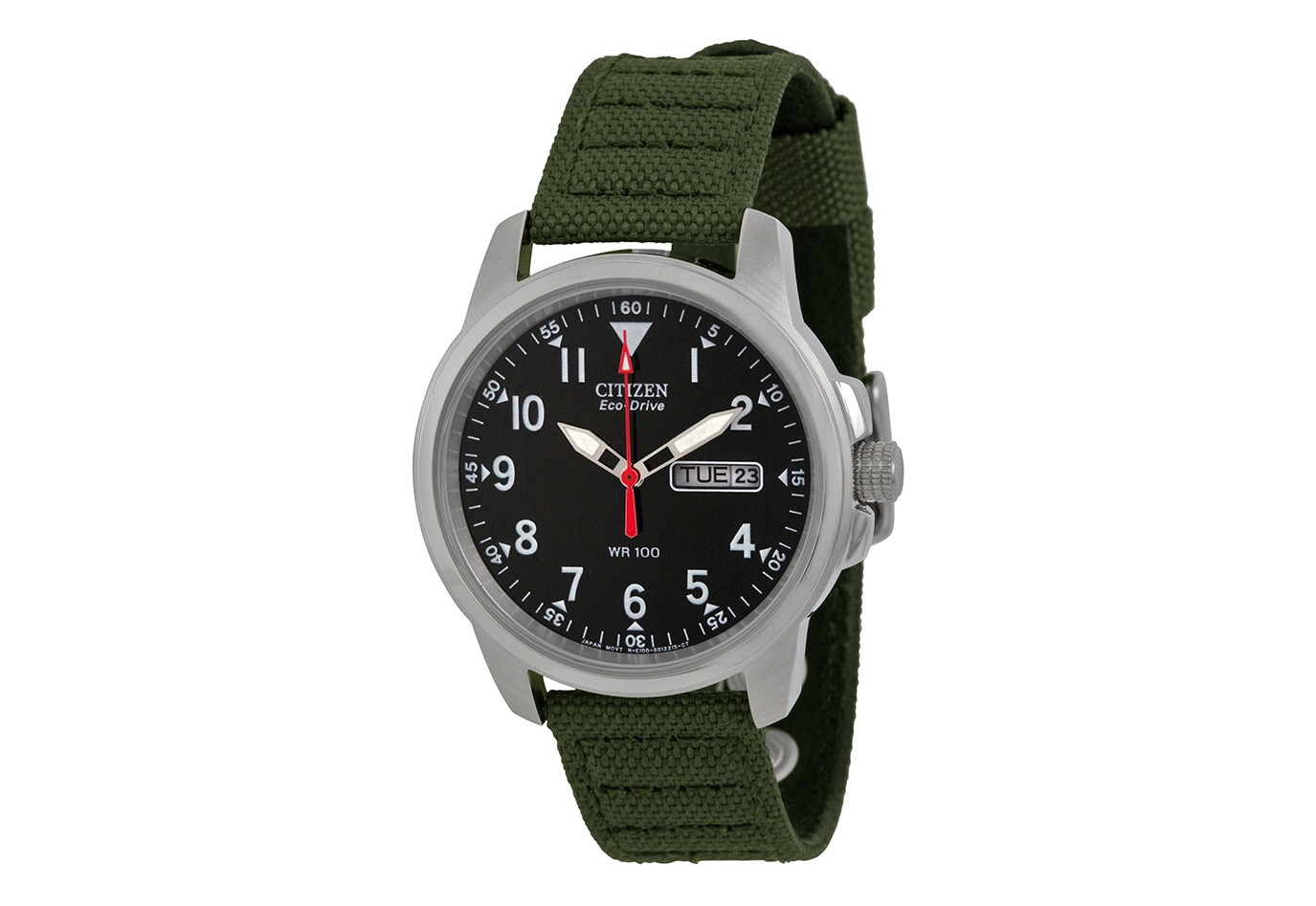 Citizen's Eco-Drive stainless steel watch with green canvas band. ($124)