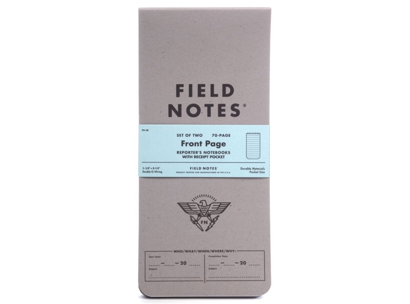 "The Field Notes ""Front Page"" reporter's notebook. ($13 per two-pack)"