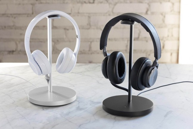 Twelve South's Fermata headphone charging stand. ($80; available in [silver](https://www.amazon.com/dp/B01M0PNBOQ?tag=toolsandtoys-20) and [black](https://www.amazon.com/dp/B01LZER7Q8?tag=toolsandtoys-20))