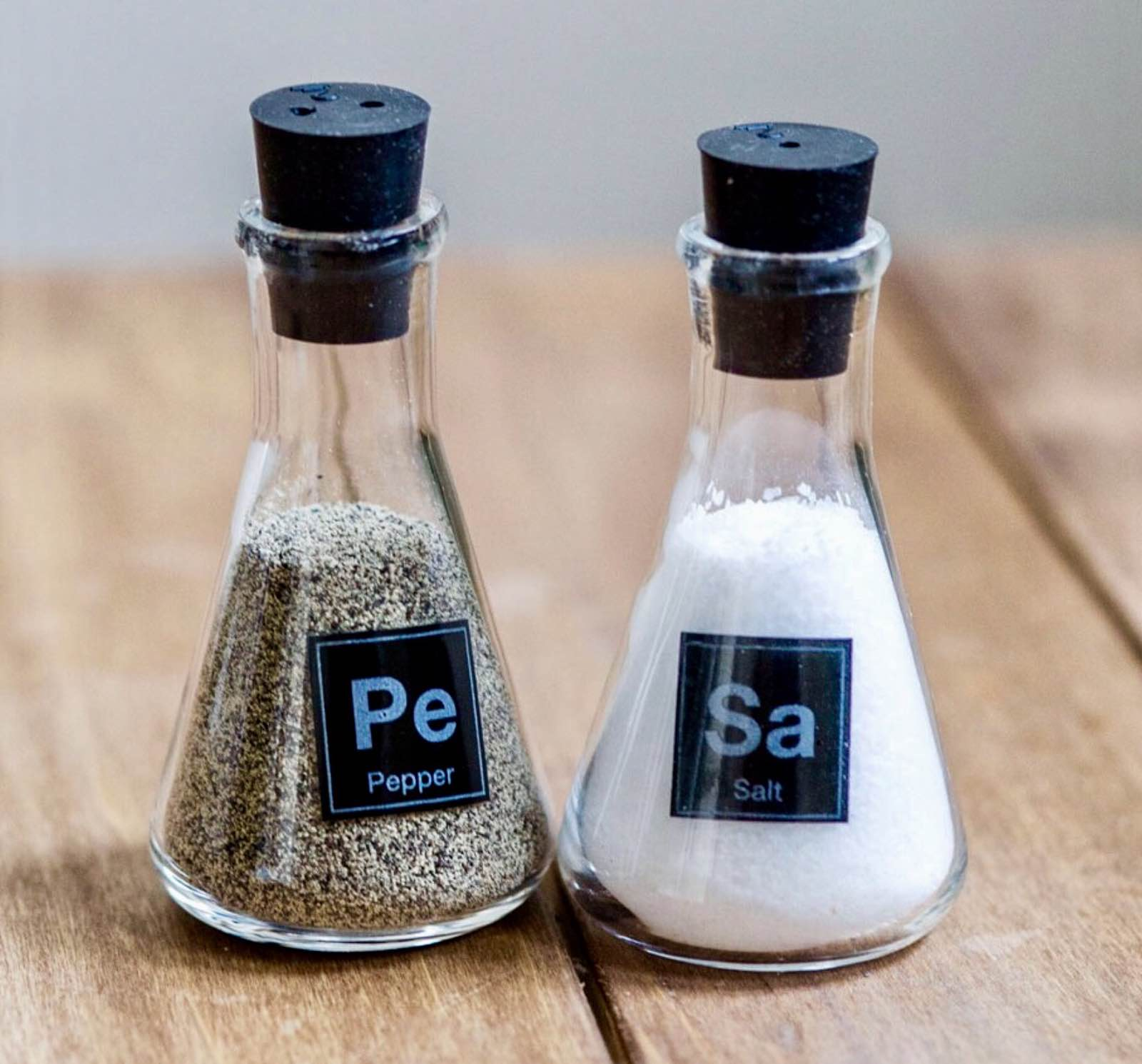 Science flask salt & pepper shakers. ($16)
