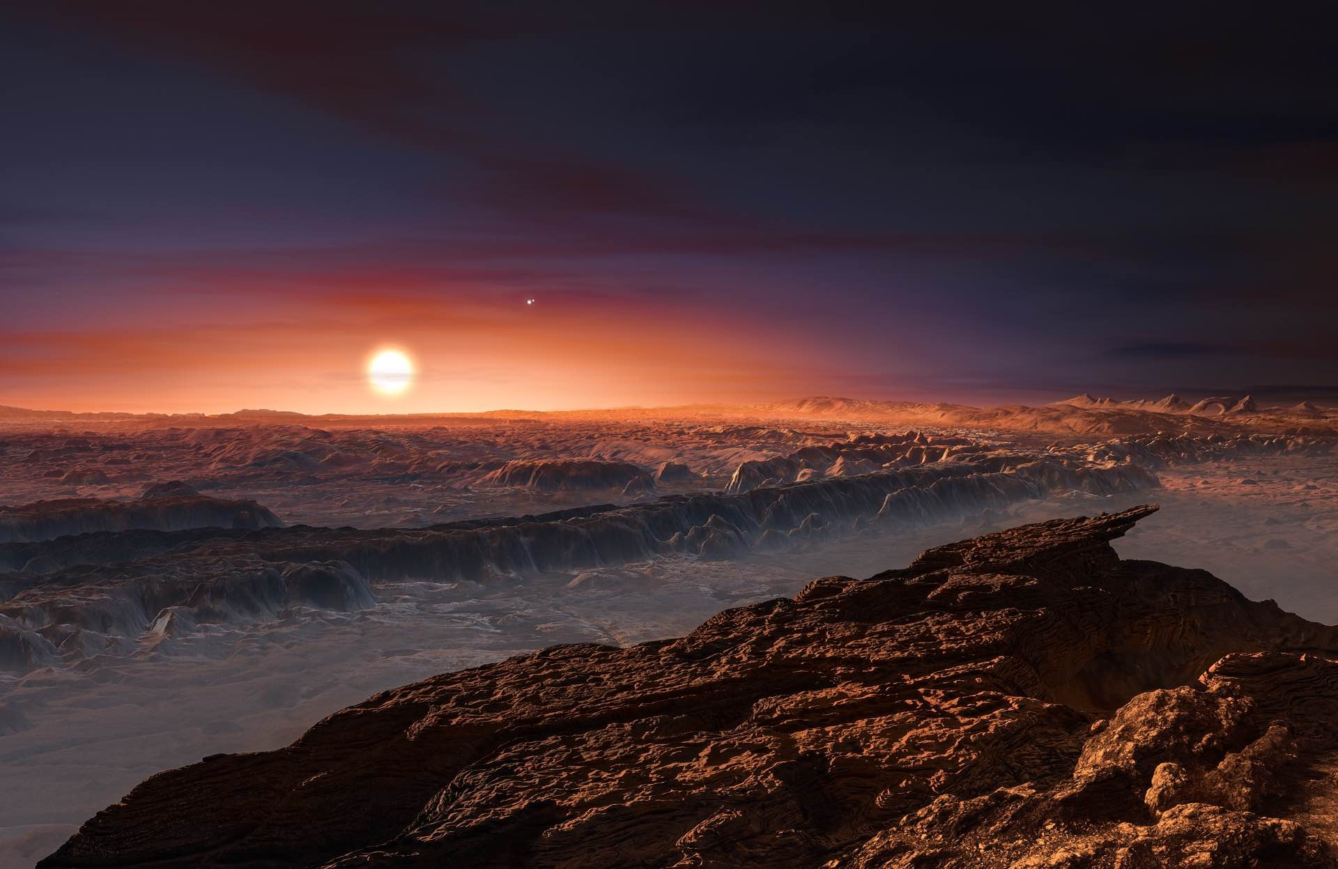 Artist's impression of Proxima b, the potentially habitable planet orbiting Proxima Centauri. Credit: ESO/M. Kornmesser