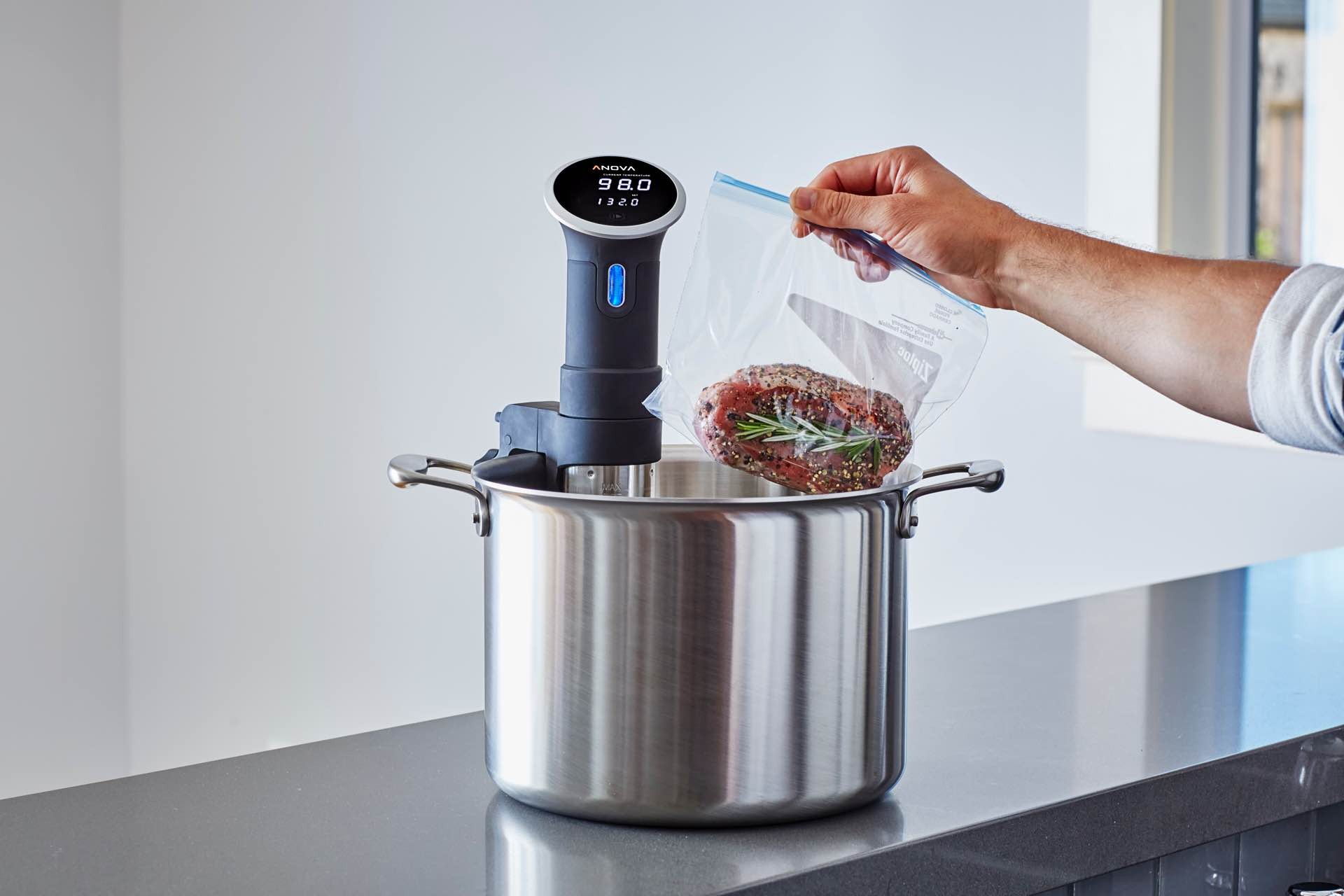 Anova Culinary's sous vide precision cooker. ($129 for the 800-watt Bluetooth version, or $199 for the newer 900-watt version that sports both Bluetooth and Wi-Fi connectivity)