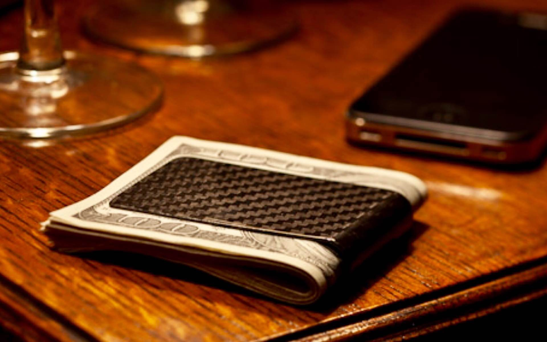 Carbon Fiber Designs' Koolstof money clip. ($40 for a limited time, normally $60)