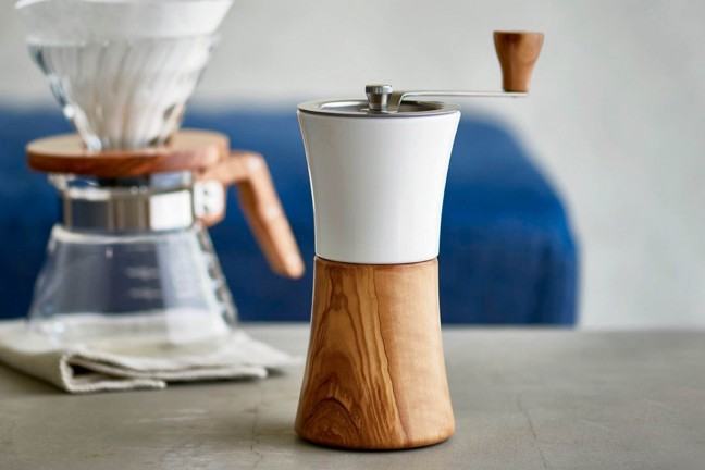 Hario's ceramic + olive wood coffee mill. ($70)