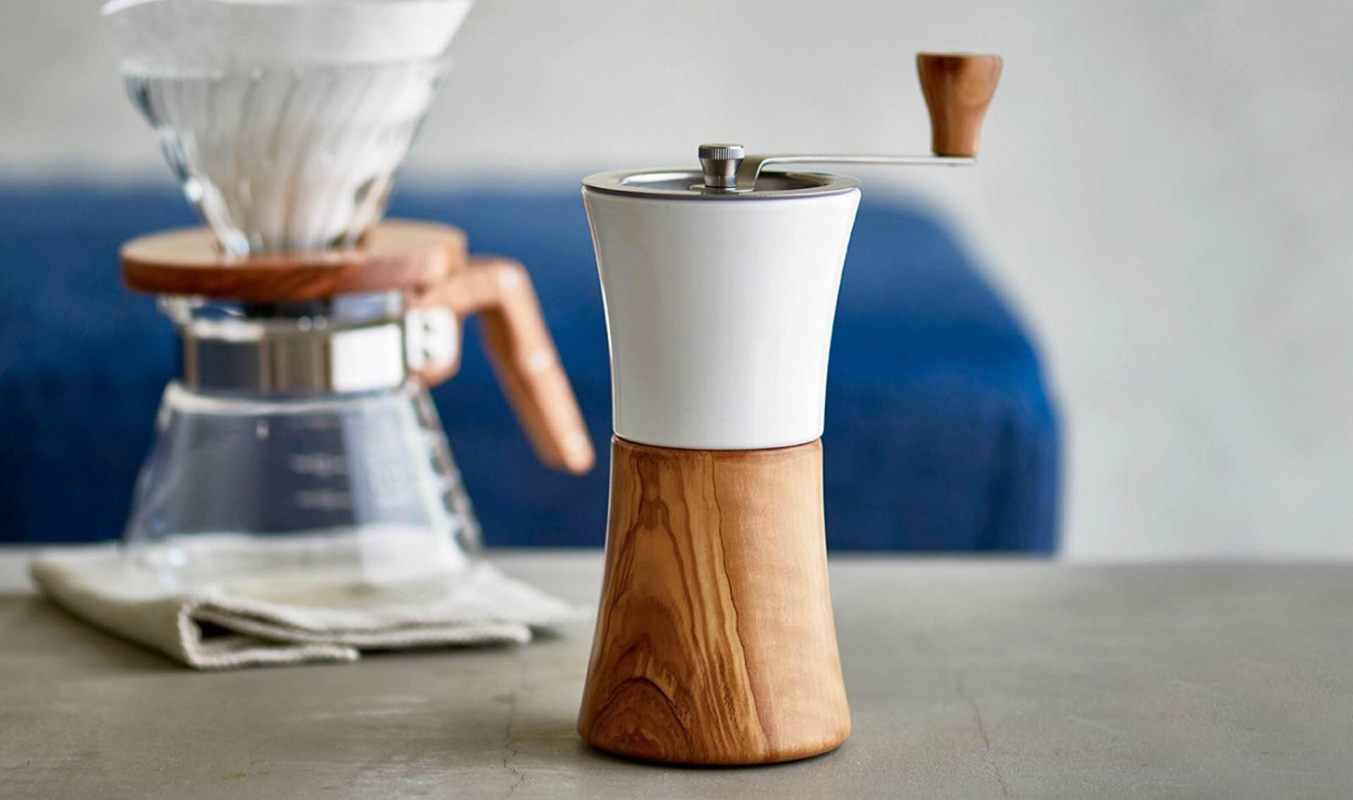 Hario's ceramic + olive wood coffee mill. ($70)