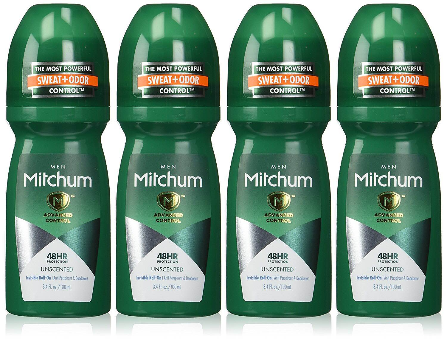 A four-pack of Mitchum's unscented roll-on antiperspirant + deodorant. ($15)
