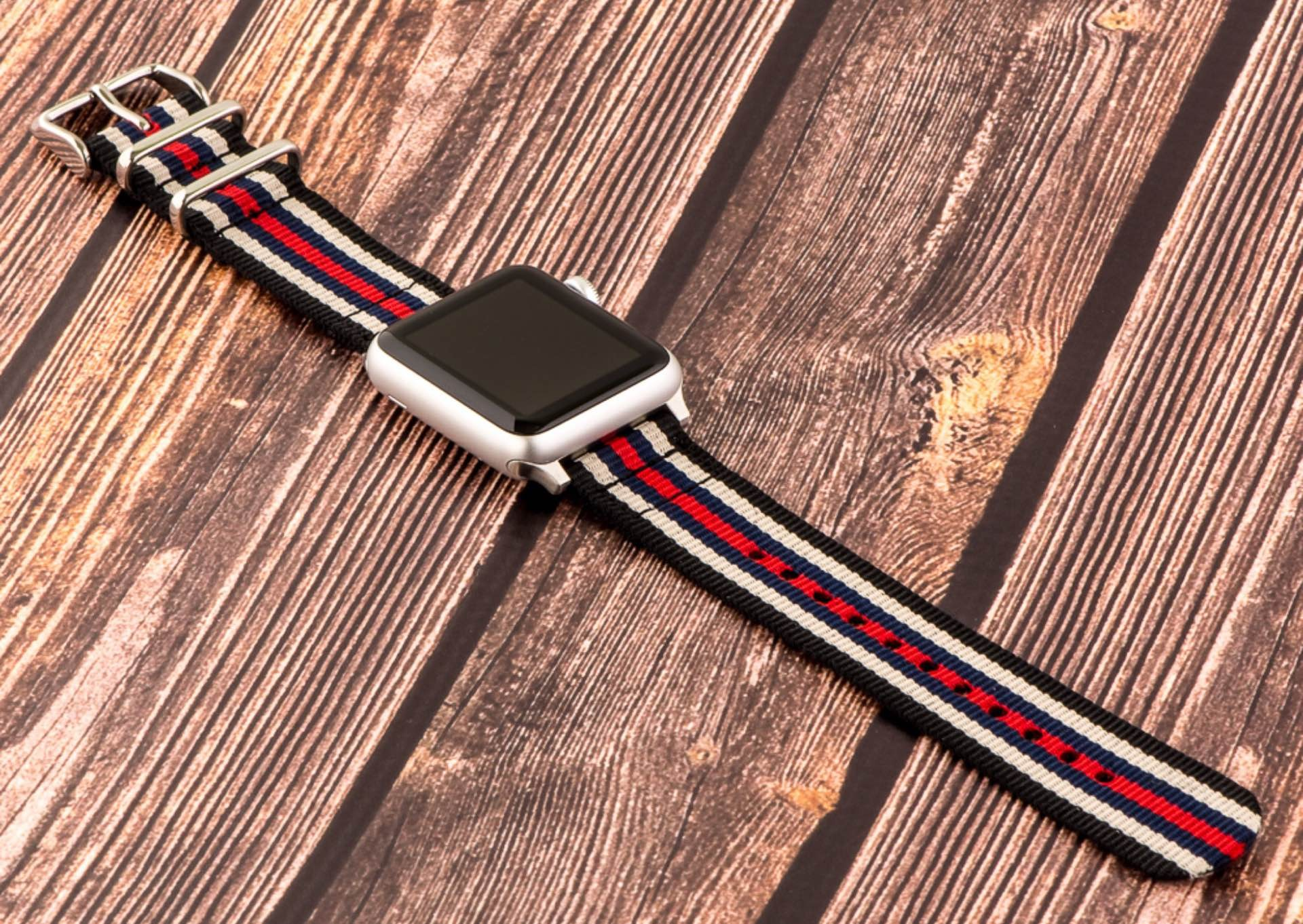 """Clockwork Synergy's """"Classic"""" NATO and """"Heavy"""" NATO straps for Apple Watch. ($25 and $30, respectively)"""