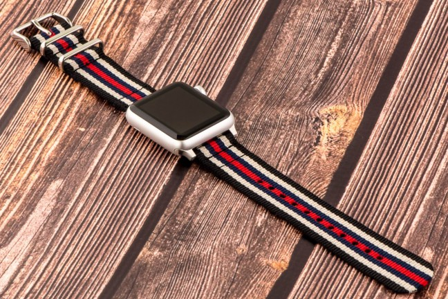 "Clockwork Synergy's ""Classic"" NATO and ""Heavy"" NATO straps for Apple Watch. ($25 and $30, respectively)"