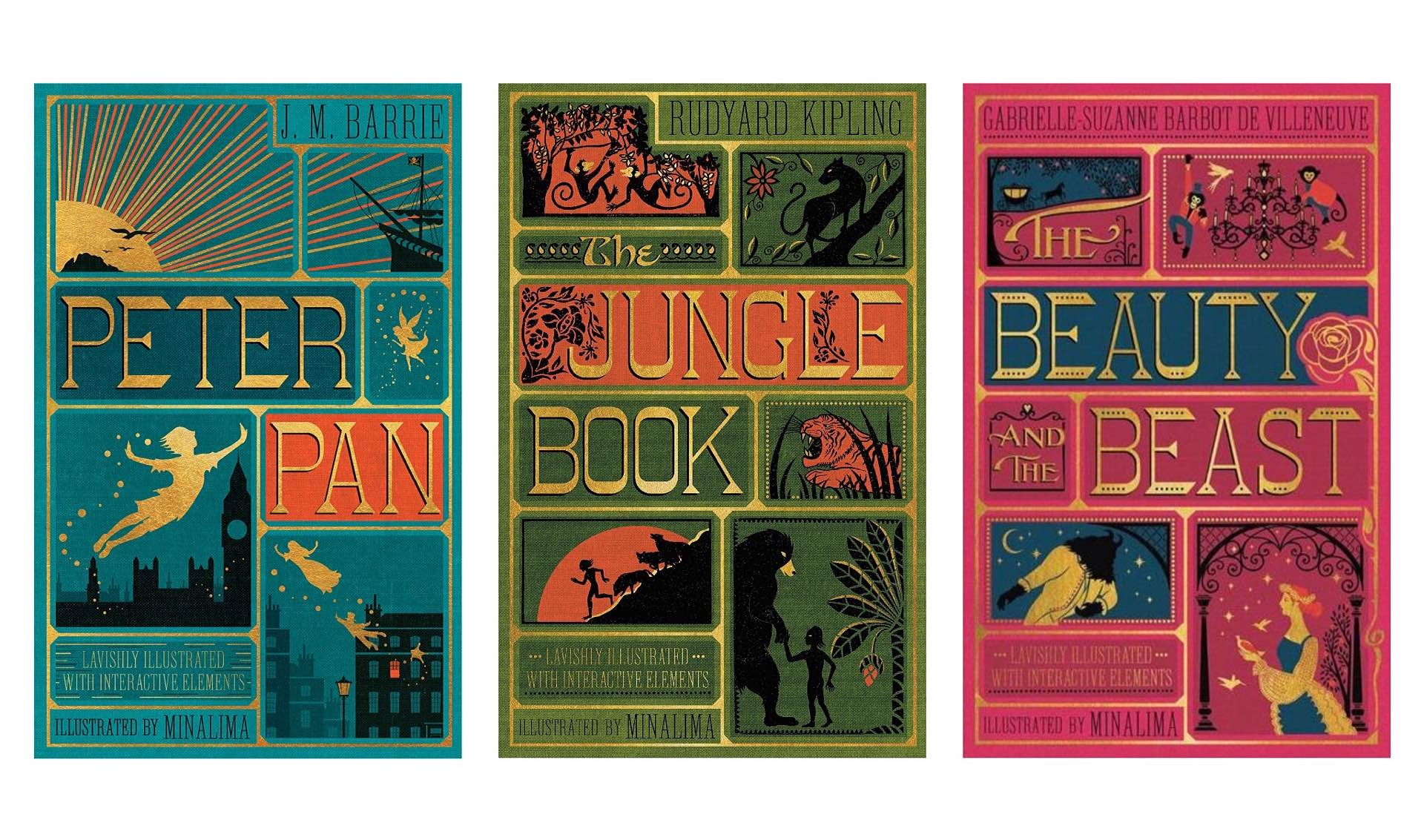 Illustrated Children's Classics by MinaLima. (~$21 for each hardcover)