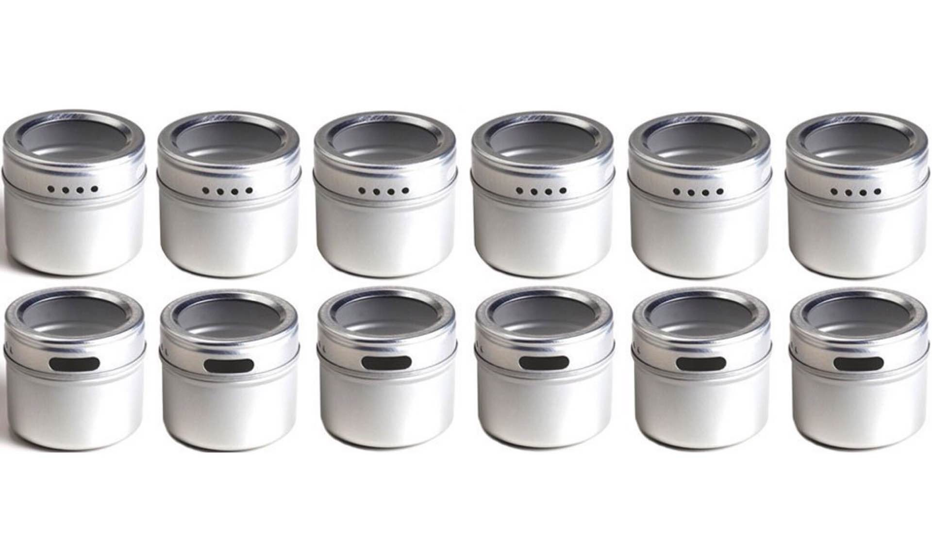 Talented Kitchen's set of 12 magnetic spice tins. ($30)
