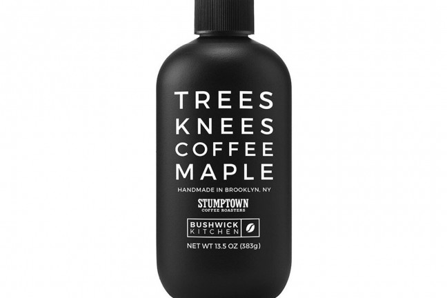 "Bushwick Kitchen's ""Trees Knees"" coffee maple syrup. ($14 per 13.5oz bottle)"