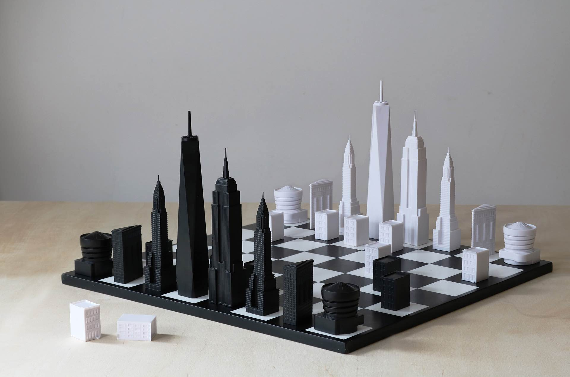 Skyline Chess chess sets. ($150 per city/set)